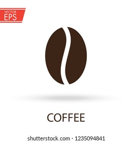 Coffee bean logo. Cafe breakfast fresh drink and food illustration. Aromatic espresso aromatic sign. Black natural coffee seed emblem. Hot cappuccino label.