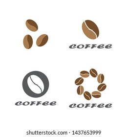 Coffee bean logo. Isolated coffee beans on white background.EPS 10.Vector illustration