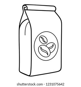 Coffee beans bag. Vector flat outline icon illustration isolated on white background.