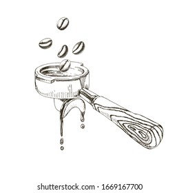 Coffee beans fall into the portafilter. Hand drawn illustration in retro style