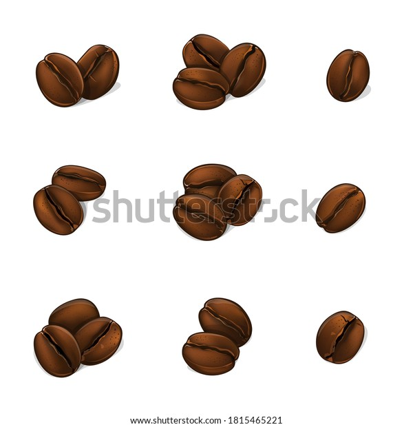 Coffee beans isolated on white background. Vector Illustration