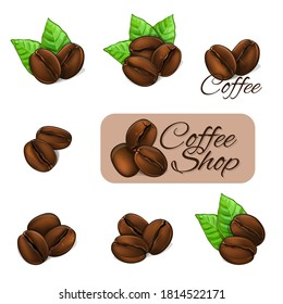 Coffee beans with leaves and logo. Vector Illustration