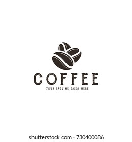 Coffee beans. Logo. Abstract beans on white background