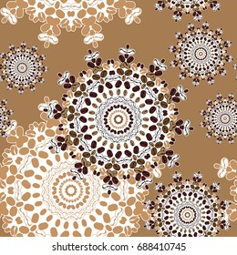 Coffee beans mandalas seamless pattern. Abstract cappuccino foam background. Vector illustration.