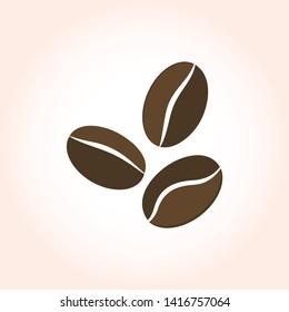 Coffee beans on beige gradient background. Print Logo vector icon.