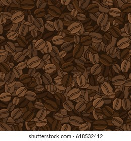 Coffee beans seamless vector pattern.