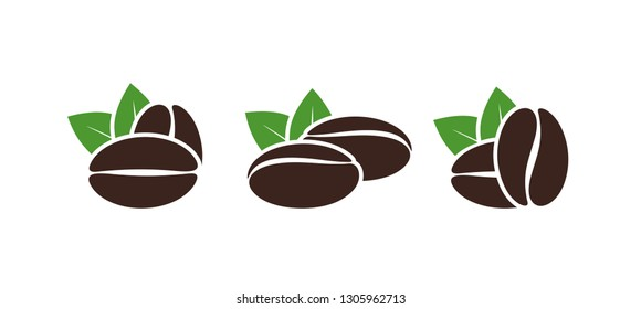Coffee beans set. Isolated coffe beans on white background