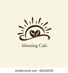 Coffee beans with sun shine silhouette logo vector.