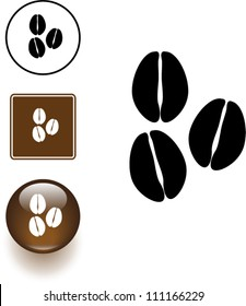 coffee beans symbol sign and button