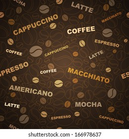 Coffee beans and coffee types seamless pattern