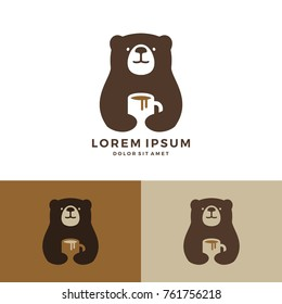 coffee bear logo hold mug vector negative space download