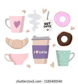 Coffee big set illustrations. Coffee to go, coffee cups and sweets