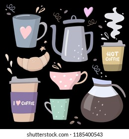 Coffee big set illustrations. Coffee to go, coffee pots, cups and design elements