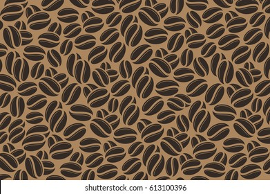 Coffee. Black coffee beans on brown background