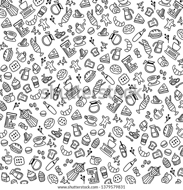 Coffee Black White Background Wallpaper Vector Stock Vector Royalty Free 1379579831