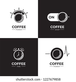 Coffee black and white logo set. Coffee and on off switch, heartbeat, coffee power, alarm clock. Flat style, vector illustration.