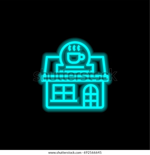 Coffee blue glowing neon ui ux icon. Glowing sign logo vector