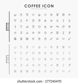 coffee bold and thin line icons
