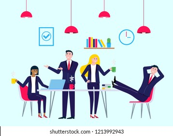 Coffee break colleagues in meeting room office with laptop, coffee and chairs happy men and women talking and working vector characters flat style vector illustration. Teamwork concept in business.