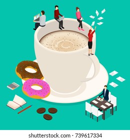 Coffee Break Concept 3d Isometric View Hot Morning Drink with Caffeine Cup Latte, Cappuccino or Espresso and Donut. Vector illustration
