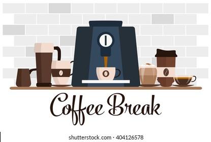 Coffee break flat design. Cup set. Coffee machine, shelf