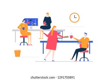 Coffee break - flat design style colorful illustration on white background. A composition with male, female workers, colleagues drinking hot beverages in the office. Workplaces with desks, computers