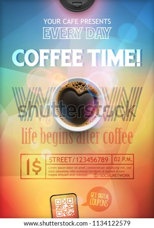 Coffee break flye or poster layout template on a colorful background of coffee in the shape