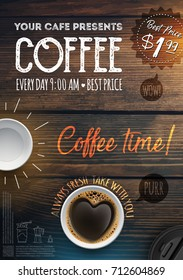 Coffee Break Flyer Template. Leaflet, banners, invitation, brochure, wallpaper with background from wooden background. Coffee in the form of heart.