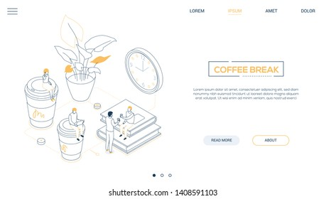 Coffee break - line design style isometric web banner on white background with copy space for text. A header with business people, male. female workers, cups, plant, books, clock. Office life concept