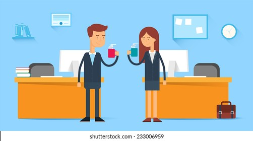 Coffee break, male and female characters in the office, flat style