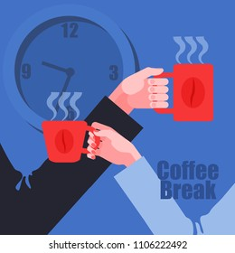 Coffee break. Male and female hands holding coffee cups. Wall clock on background. Vector illustration