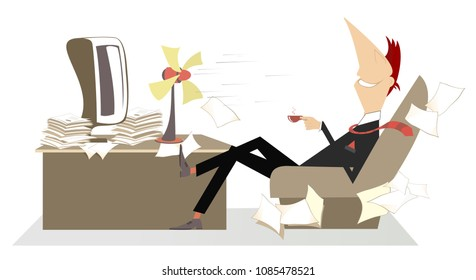 Coffee break. Man in the office sits in the armchair in front of the tabletop fan, takes a delight from the fresh air and drinks a cup of coffee or tea vector