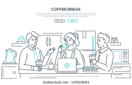 Coffee break - modern line design style banner on white background with copy space for your text. Business people, colleagues, staff having lunch, drinking, eating donuts in the office kitchen