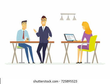 Coffee break in the offce - modern cartoon people characters illustration. A sitting woman checks her emails at the computer, two smiling men talk, drink, have a good time. Concept of teamwork