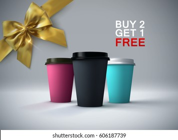 Coffee break. Paper coffee cups mockup with golden bow. Vector realistic 3d illustration. Package mock-up design for branding or ads. Buy 2 get 1 free promotional offer.