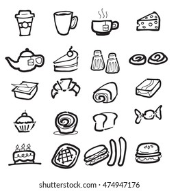 Coffee break and snacks cartoon drawing icons