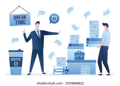 Coffee break time. Office paper work, businessman with huge heap of files, folders. Colleague carries stack of documents. Male employee need timeout hard work. Time management. Vector illustration