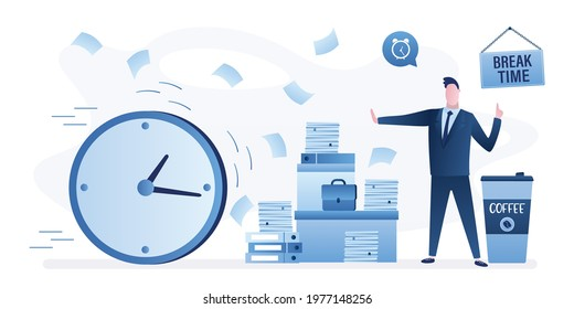 Coffee break time. Office paperwork, businessman with huge heap of files, folders. Male employee need timeout hard work. Manager stops big watch. Time management concept. Flat vector illustration