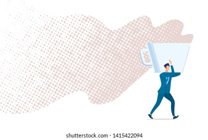 Coffee Break, Time Out, Short Pause in Office Work Flat Vector Concept Isolated on White Background. Businessman or Entrepreneur Walking, Carrying Huge, Steaming Coffee Cup on Shoulder Illustration