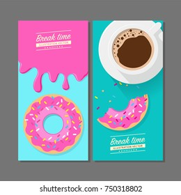 Coffee break time with strawberry donuts, Coffee cup and Pink Strawberry donut top view vector illustration on green blue background.