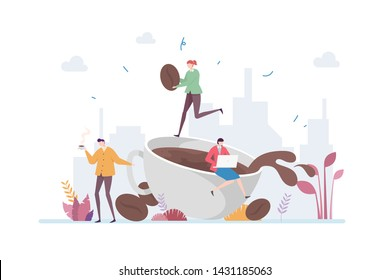Coffee Break Vector Illustration Concept Showing Company Staff Relaxing and Taking Break Enjoying Coffee, Suitable for landing page, ui, web, mobile app intro card, editorial print, flyer, and banner.