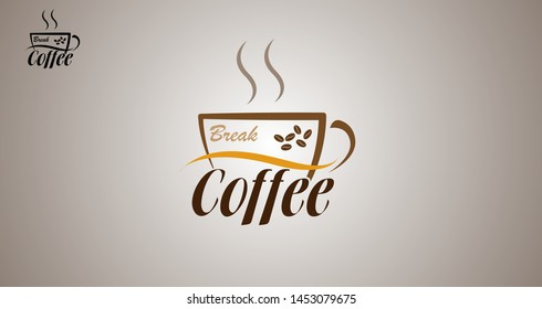 coffee break vector logo, logo for emblems, restaurants, cafe and etc.