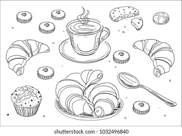 Coffee and breakfast - hand drawn vector illustration