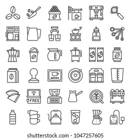 Coffee brew equipment for coffee shop, outline icon