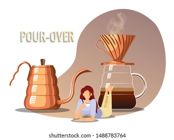 Coffee brewing methods, coffeemakers, pour-over and coffee lover concept. Woman drinking Pour over coffee, kettle and vessel with coffee dripper. Poster, banner, website design.