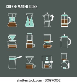 Coffee brewing methods icons set. Different ways of making hot energy drink. Detailed stylish modern flat vector illustration and design element.