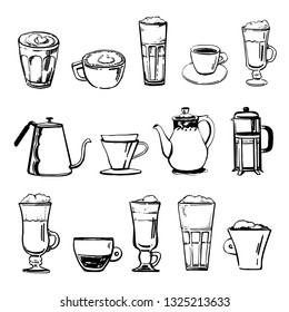 Coffee brewing pots and cups with different coffee drinks. Hand drawn outline sketch vector set isolated on white background
