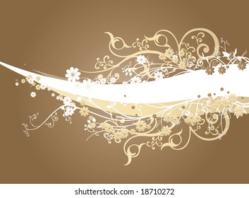 A coffee brown gradient background with intricate orange and white swirls and arabesques