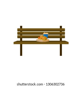 Coffee and burger on the bench. Paper cup of coffee, bench, burger. - Vector. EPS 10
