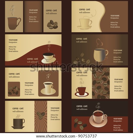 Coffee business card templates 8 set stock vector royalty free coffee business card templates 8 set friedricerecipe Image collections
